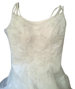 Oleg Cassini Ivory Polyester Scoop Pearl Neckline Flows Into An Embroider/Bead Full Formal Wedding Dress Size 4 (S)