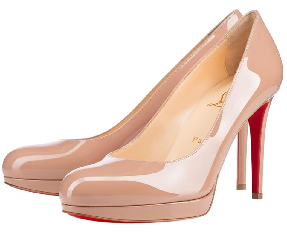 Christian Louboutin Beige New Simple Round 100 Nude Patent Leather Round Simple Toe Platform Pumps 068fda