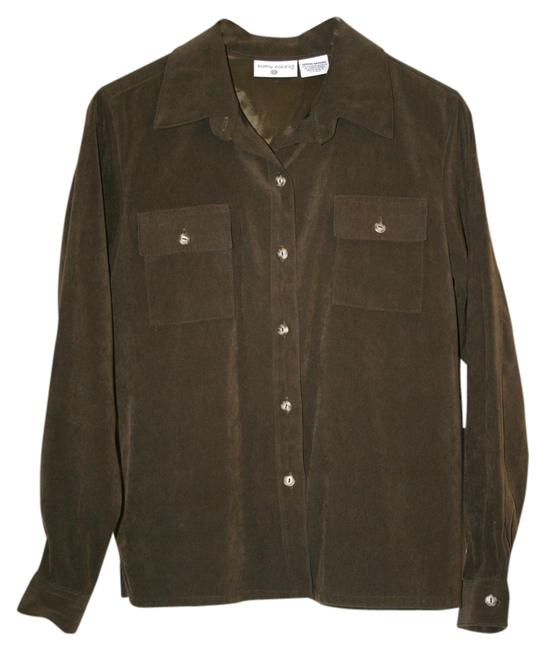 Kathy Ireland Button-up Button Down Shirt Brown