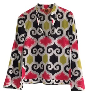 Tory Burch Top Black, white, pink, chartreuse