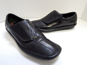 Prada 8m Leather Velcro Black Flats