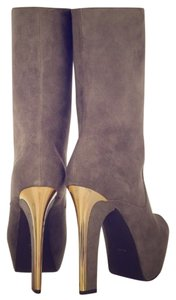 Theysken's for Theory Gray suede w/gold plate accent heel Boots
