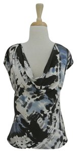 NICOLE FARHI Silk Print Draped Short Sleeve Top blue