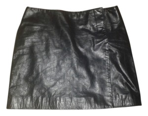Hugo Buscati Leather Mini Skirt Black
