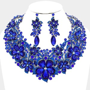Striking Blue Rhinestone Crystal Necklace And Earrings