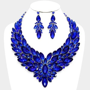 Blue Rhinestone Crystal Statement Necklace And Earrings