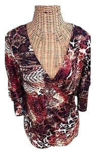Boston Proper Kimino Sleeve Cold Animal Print Ruching Top Black /Brown