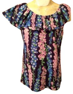 Lilly Pulitzer Floral Ruffle One Shoulder Top Navy