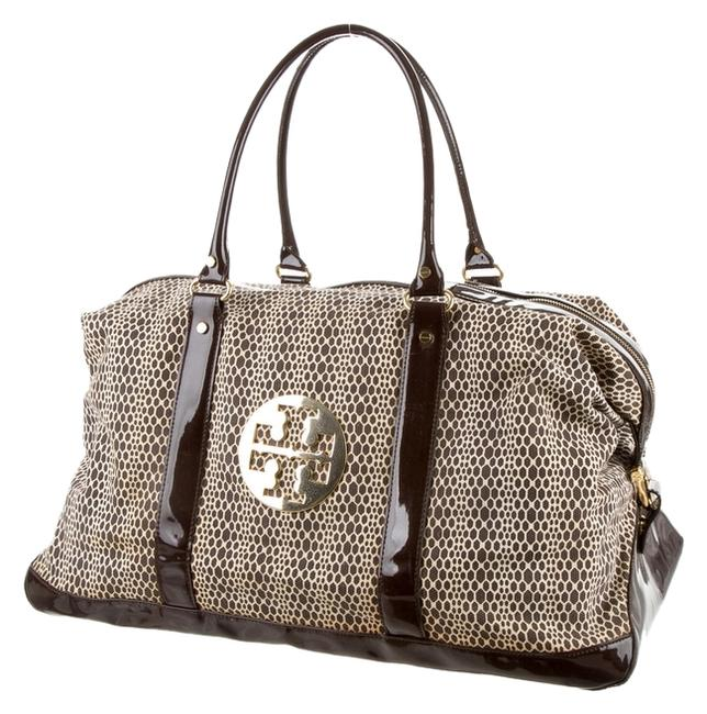 Item - Printed Woven Reva Logo Large Brown Gold Beige Patent Leather Weekend/Travel Bag