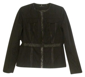 Elie Tahari Fitted Leather Trim Black Blazer