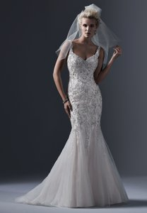 Sottero and Midgley Light Gold Champagne Pewter Accent Tulle Gown Sexy Wedding Dress Size 10 (M)
