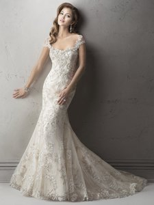 Sottero and Midgley Ivory/Silver Accent Over Light Gold Tulle/Lace Ettiene (4sc963cs) Feminine Wedding Dress Size 14 (L)