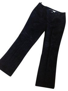 label removed suede leather jean style pant Boot Cut Pants black suede leather