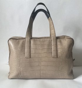 Calvin Klein Collection Crocodile Weekender Luxury Taupe Travel Bag