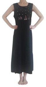 Dark Blue with Multi-color Christmas Scene Maxi Dress by Christopher & Banks Long Cotton Holiday