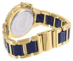 Other Lab Diamond Bezel Watch Female Geneva Ap Style Gold Tone Blue Face Design