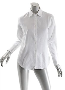 Loro Piana Waffle Cotton Button Down Shirt White