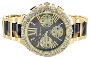 Geneva Women Yellow Gold Tone Parker Tortoise Acetate Watch Jojo Rodeo Lab Diamond Iced