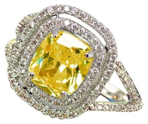 Other New Canary Yellow & White Sapphire18K White Gold Filled Promise/Cocktail/Engagement Wedding Ring