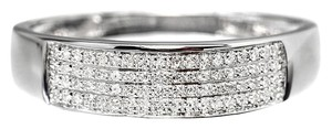 10k White Gold Mens 6mm Pave Diamond Wedding Band Ring 0.25ct