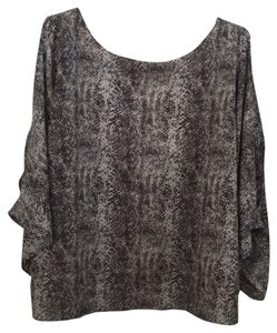 Ark & Co. Snakeskin Flowy Open Back Top Black, grey, neutral