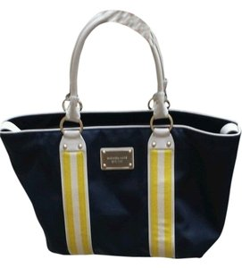 Michael Kors Casual Work Professional Tote in Navy with White, Yellow, and Gold
