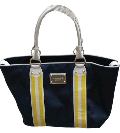 Michael Kors Casual Work Professional Daytonight Sturdy Tote in Navy with White, Yellow, and Gold