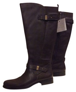 Naturalizer Wide Calf Leather Oxford Brown Boots