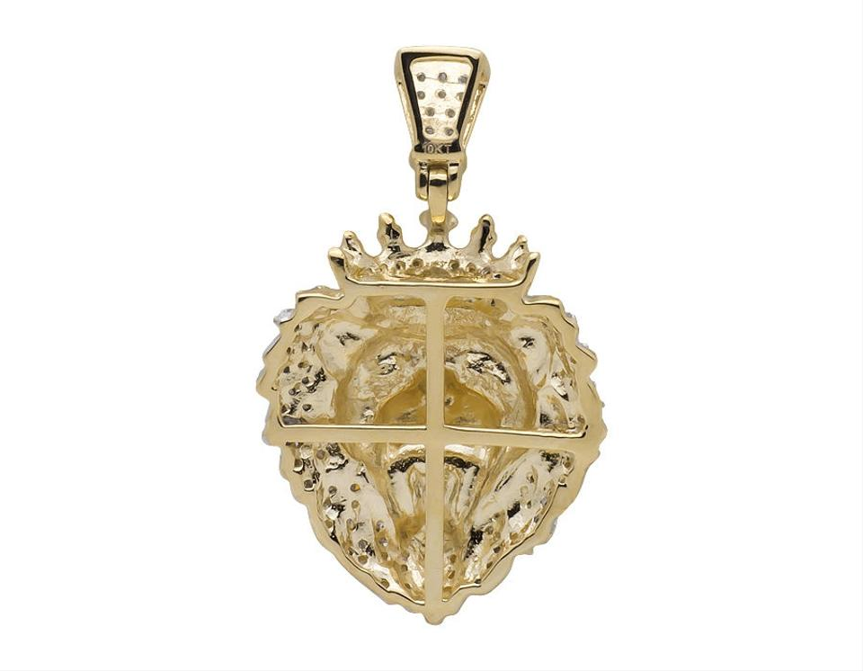 8d3cef6eaa2 Other 10k Yellow Gold Roaring Lion King Crown Round Diamond Pendant 0.50ct  Image 4. 12345