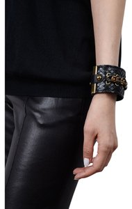 Condemned to Be Free Matte Python Snakeskin Gold Chain Cuff