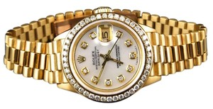 Rolex Pre-owned Ladies 27 Mm Rolex President Datejust 18k Yellow Gold Diamond Watch