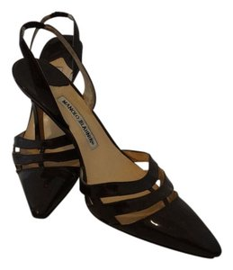Manolo Blahnik Slingback Patent Leather Brown Pumps