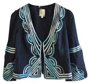 Nanette Lepore Anthropologie Silk Ribbon Blue Blazer
