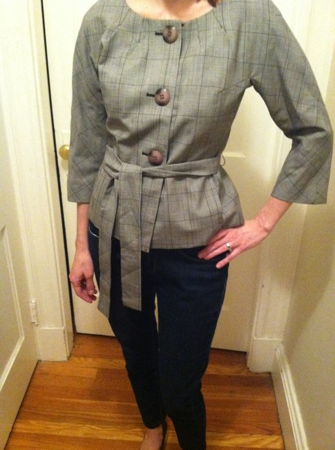 Ann Taylor Cropped Sleeve Belted black and gray plaid Blazer