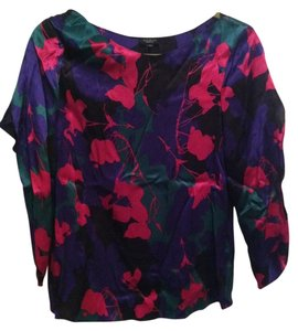 Talbots Floral Pink Bat Sleeve Print Top bright, multi color silk