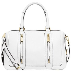 Michael Kors Leather Julia Satchel in Optic White