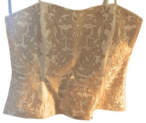 White House | Black Market Satin Corset Embroidered Top White and Gold