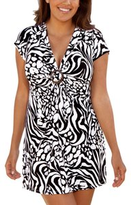 swimsuitsforall Swimsuitsforall Black&White Zebra Ring-Front Tunic Dress Swim Cover-up~14/16