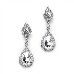 Mariell Crystal Clip-on Earrings With Teardrop Dangles 4532ec-cr-s