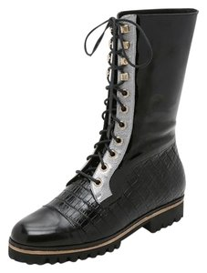 Rodarte Combat Boot Leather Black Boots