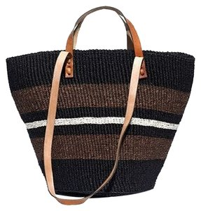 Bamboula Ltd. Raffia Straw Boho Madewell Black Beach Bag