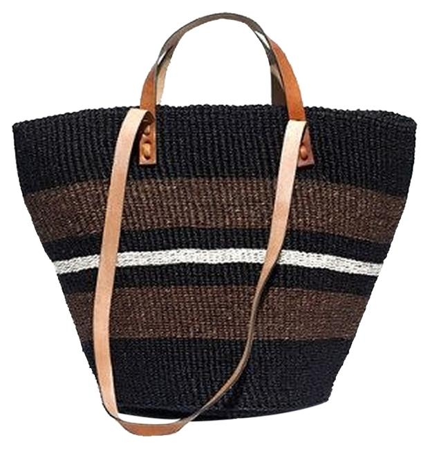 Item - Tote Madewell Striped Black Straw Beach Bag
