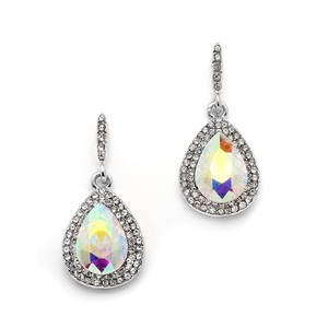 Mariell Silver Iridescent Micro-pave Ab Teardrop 4535e-ab-s Earrings