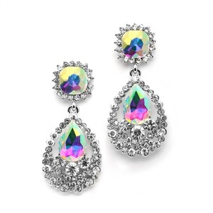 Mariell Glamorous Ab Statement Earrings With Bold Dangle 4536e-ab-s