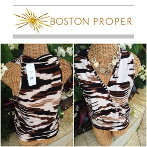 Boston Proper V-neck Sleeveless Banded Print Top Black/Taupe