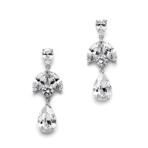 Mariell Great Value Cz Drop Earrings With Pears And Marquise 4537e