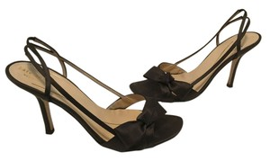 Kate Spade Leather Lining Soles Italian Front Bows Brown satin Sandals