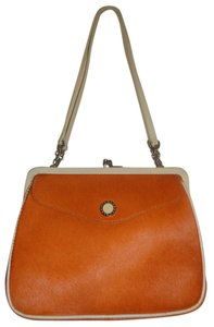 BVLGARI Rare Limited Edition Palladium Hardware Kiss-lock Frame Pony Hair + Leather Shoulder Bag