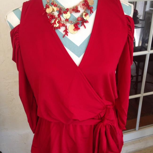 Boston Proper Ruched Night Out Date Night Draped Cold Shoulder Top Red Image 1