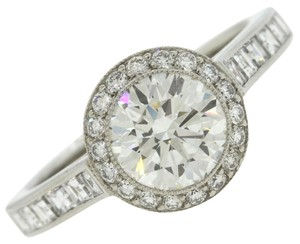 Tiffany & Co. Authentic Tiffany & Co. Platinum 1.55ctw G VVS1 Diamond Halo Engagement Ring Complete with Box & Certificates